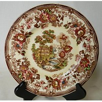 """Vintage Brown Polychrome Transferware Toile 8"""" Salad Plate Tonquin Cottage Swans and Roses"""