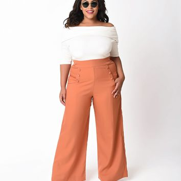 Unique Vintage Plus Size 1940s Cinnamon Brown High Waist Sailor Ginger Pants