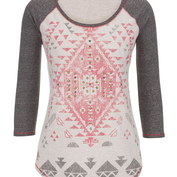 Ethnic Graphic Print Tee With Studs - Calypso Coral