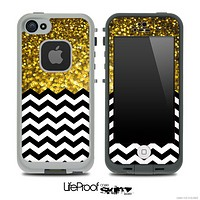 Mixed Gold Sparkle Print and Chevron Pattern Skin for the iPhone 5 or 4/4s LifeProof Case