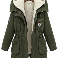 Army Green Hooded Long Sleeve Pockets Two Pieces Coat | CozBest:lastest womens fashion clothing,shoes,dresses shop online