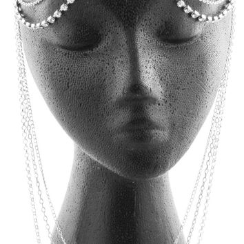 Silvertone with Clear Iced Out Double Row with Dangling Chains Adjustable Head Chain