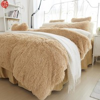 Winter Bedding set Long hair Cashmere sheet pillowcase&duvet cover set Camel Fleece thinken warm bedcloth ruffles bed linen sets