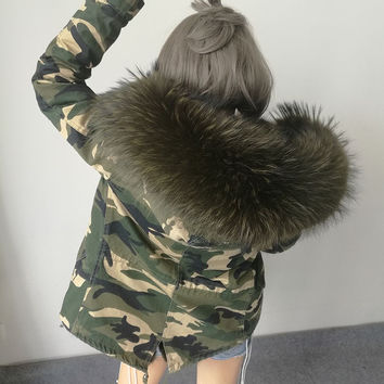 2016 New Women Winter Army Green Jacket Coats Thick Parkas  Real Raccoon Fur Collar Hooded Outwear 5 Day Delivery time