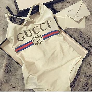 Gucci Logo White Swimsuit