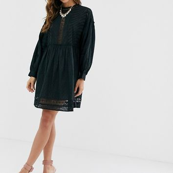ASOS DESIGN dobby high neck mini smock dress with lace trims | ASOS