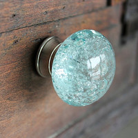 Glass Drawer Knobs with bubbles in Light Blue and Silver toned Hardware (CK16)