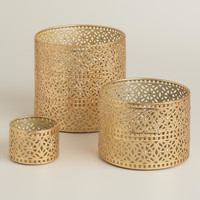 Gold Lace Metal Hurricane Candleholders - World Market