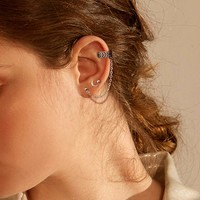 Moon Detail Stud Earrings With Ear Cuff 3pcs
