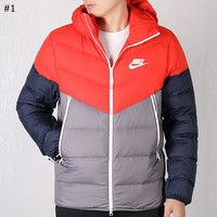 NIKE winter new short two-way zipper hooded warm sports down jacket #1