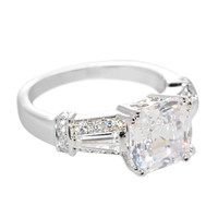 Sterling Silver Solitaire Cubic Zirconia Princess Cut Square CZ Ring - 8mm