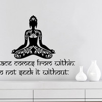 Wall Decals Quotes Vinyl Sticker Decal Home Decor Peace comes from within Buddha Quote Wall Decal Lotus Namaste Yoga Mandala Bedroom #25