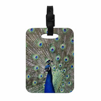 "Qing Ji ""Peacock of Stunning Features"" Brown Green Decorative Luggage Tag"