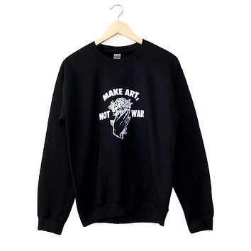 Make Art, Not War Black Graphic Crewneck Sweatshirt