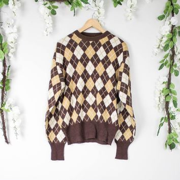 Vintage Brown Plaid Sweater