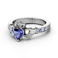 European Engagement Ring - Claddagh Ring Heart Blue Sapphire 14K White Gold Ring with Blue Sapphire & Diamonds - ER215BS