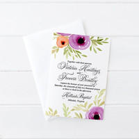 "Watercolor Wedding Invitation - Floral Invitation Card Calligraphy Wedding Invite ""Spring Blooms"" Watercolor Invitation RSVP DEPOSIT"