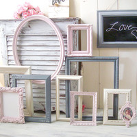 Pink and Gray Nursery Frames, Shabby Chic Ornate Frames and Chalkboard Frame, Oval Ornate Frame, Cream Frames, Baby Shower Frames, Gift Idea