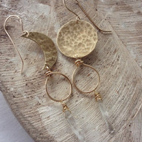 Moon Earrings. Bronze Moons with Raw Clear Quartz Points.