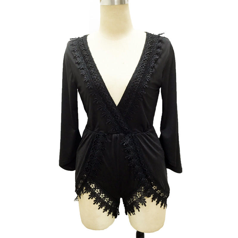 Image of Black Lace Patchwork Women Playsuits And Jumpsuits Sexy Deep V Neck Party Night Club Rompers Womens Jumpsuit Slim Romper