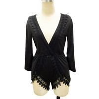 Black Lace Patchwork Women Playsuits And Jumpsuits Sexy Deep V Neck Party Night Club Rompers Womens Jumpsuit Slim Romper