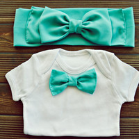 Mint Turban and Bodysuit with Mint Bowtie Set of Two for Mother and Son, Boho Bow Tie Headband and Baby Creeper