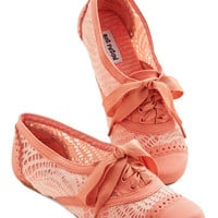 ModCloth Menswear Inspired Follow My Footsteps Flat in Coral