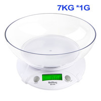 7KG/1G Multifunction Digital LCD Electronic Parcel Food Weight with Bowl Kitchen Scale