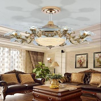 Modern Invisible Retractable Fan Chandelier
