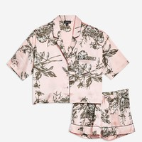 Floral Satin Pyjama Shirt And Shorts Set | Topshop