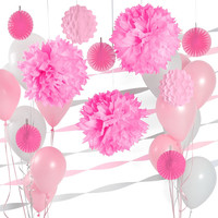 Pink & White - Party Decoration Kit