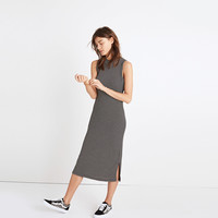 Ribbed Mockneck Midi Dress in Stripe