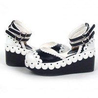 3 1/10'' Heel With 2'' Platform PU Black And White Lolita Shoes– Discount Lolita Footwear