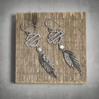 Winged Bar & Shield Logo Dangle Earrings