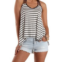Black/White Strappy Braided Handkerchief Tank Top by Charlotte Russe
