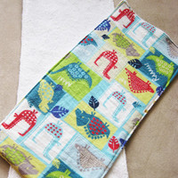 Dinosaur Burp Cloths - Two flannel front - terry cloth back double-sided burp cloths - Green, Blue and Red Dinosaurs