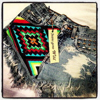INDIO High waisted denim shorts tribal motif all sizes