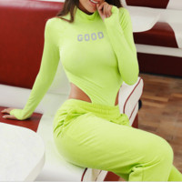 New sexy reflective long sleeve with round collar slim waist and one-piece dress