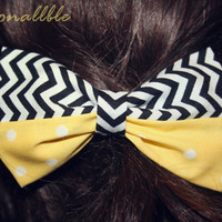 Black white and yellow hair bow