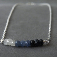 Ombre Necklace Sapphire Necklace, Silver Necklace September Birthstone Layer Necklace Bar Necklace Blue Sapphire by SteamyLab