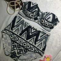 Push Up High Waist Swimwear Print Bikini set