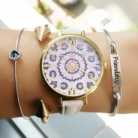 Retro Floral Leather Watch + Gift Box