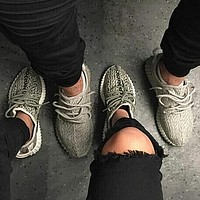 Fashion Adidas Women Yeezy Boost Sneakers Running Sports Shoes Foot Grey black dots