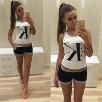 Calvin klein CK Round neck vest T-shirt shorts casual suit Two-piece