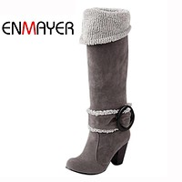 ENMAYER Women Over Knee High Boots Sexy Square High Heels Winter Shoes Buckle Decoration Winter Shoes for Women Euro size 34-43