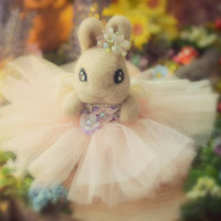 Easter bunny with tulle dress, needle felted rabbit with tutu, handmade flower rabbit doll, pastel peach dress, children gift, gift under 40