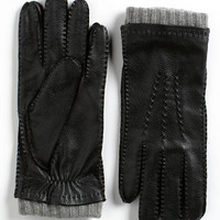 Black Brown 1826 Leather Cashmere Gloves