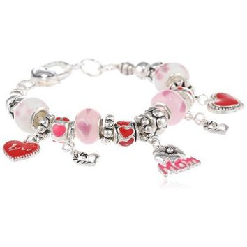 """Love You Mom"" Pink Hearts and Flowers Charm Bracelet, 7.5"""