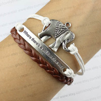 """The elephant charm bracelet, """"where there is a will there is a way"""" bracelet, wax rope weaving bracelets, friendship gift"""