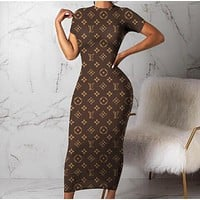 LV Louis Vuitton Balenciaga Fashion Women Sexy Print Short Sleeve Dress